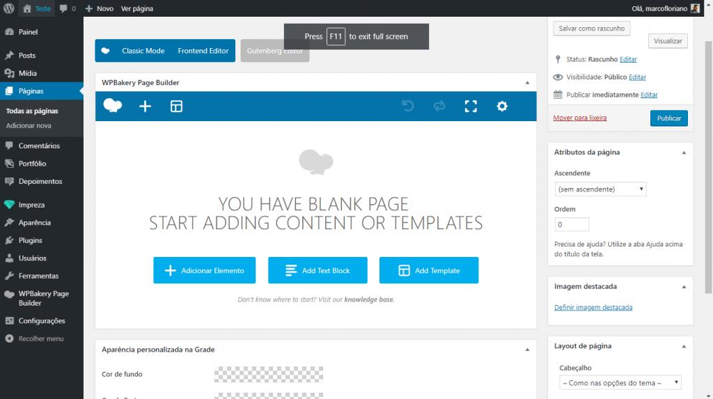 Page Builder do Impreza para criação de páginas e portfólios