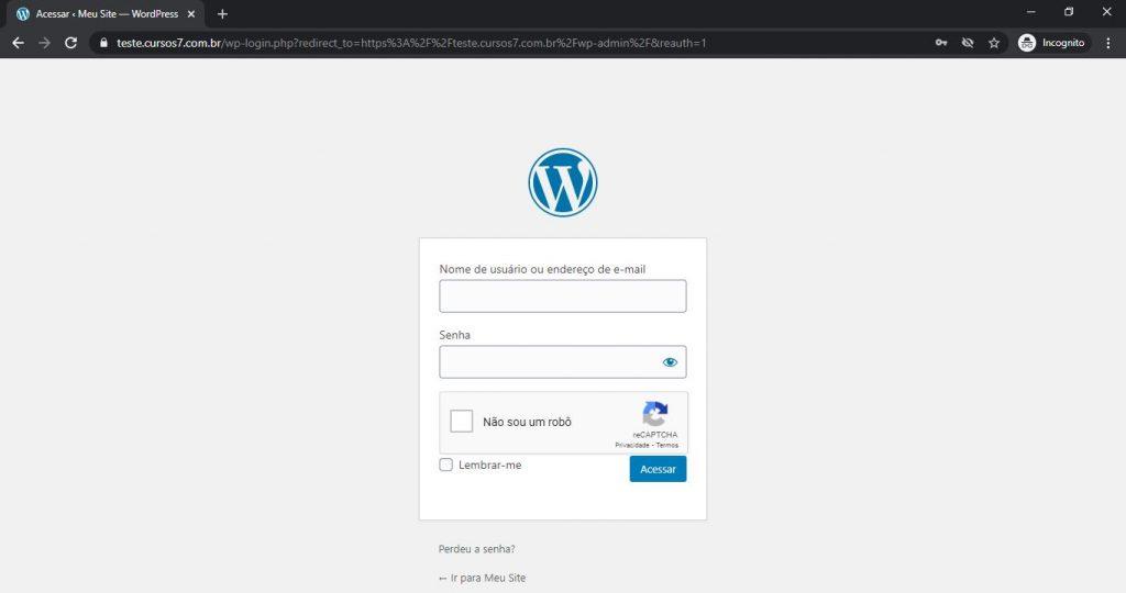 Testando reCAPTCHA no formulário de Login do WordPress
