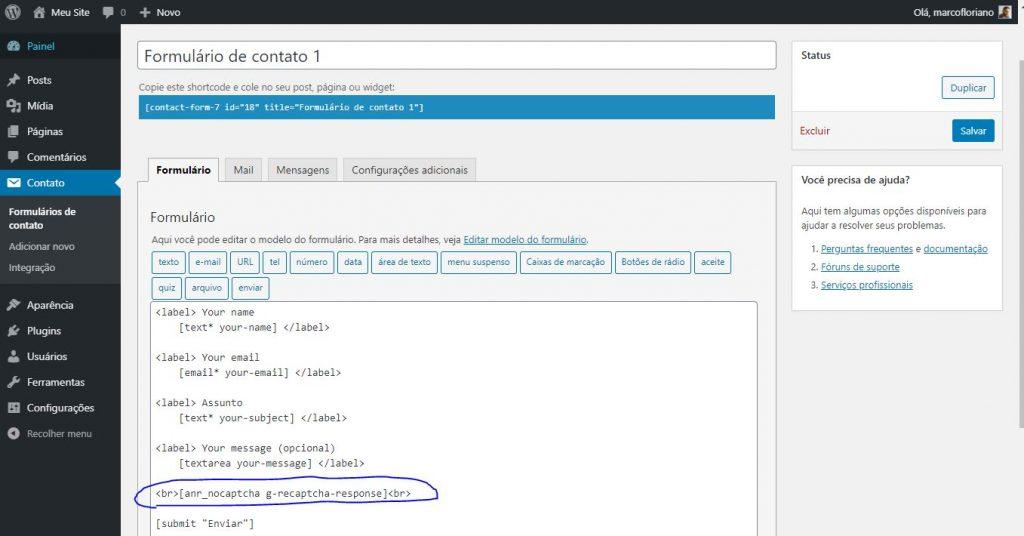 Configurando shortcode no formulário do Contact Form 7