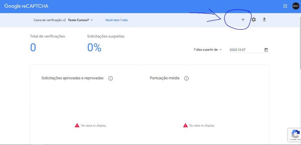 Adicionando um site ao serviço de reCAPTCHA do Google para obter as chaves de integração par ao WordPress