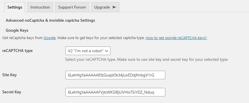 Inserindo chaves do reCAPTCHA no Advanced noCaptcha & invisible Captcha