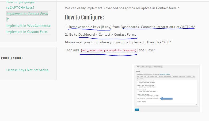 Instruções para configurar o reCAPTCHA no Contact Form 7