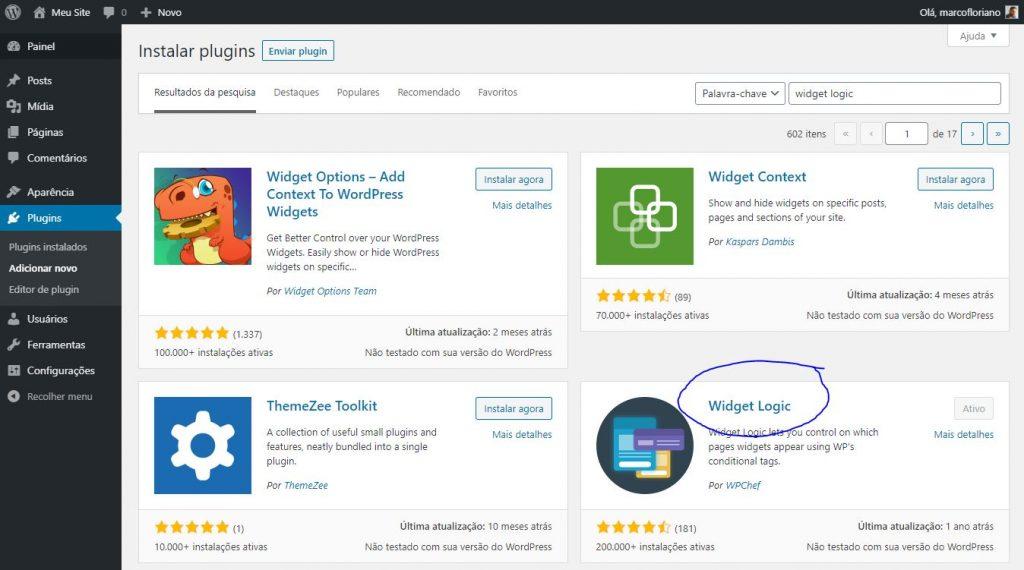 Controlando Exibição de Widgets no WordPress - Instalando Widget Logic