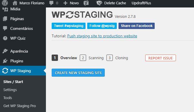 Criando Stage de Sites WordPress Com o WP STAGING – Tela Inicial do Plugin