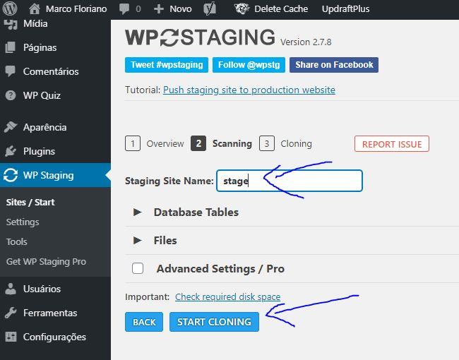 Criando Stage de Sites WordPress com WP STAGING – Iniciando clonagem do site atual